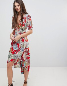 Платье с запахом и принтом AX Paris - Красный
