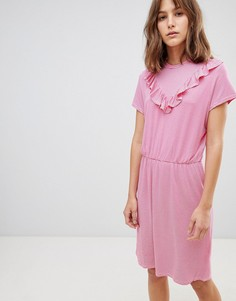 Платье с V-образной вставкой и высоким воротом Ichi - Розовый