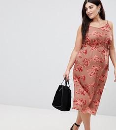 Платье на бретельках с запахом и цветочным принтом AX Paris Plus - Мульти