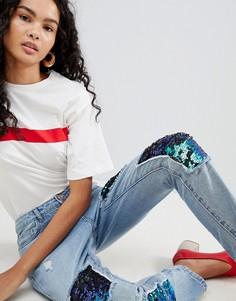 Джинсы в винтажном стиле с пайетками Only Lima - Синий