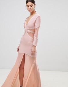 Платье макси с полупрозрачными вставками Forever Unique - Розовый