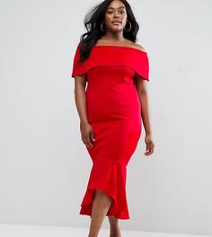 Платье со спущенными плечами и оборкой по краю Club L Plus - Красный