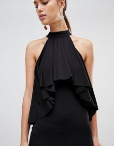 Платье с американской проймой и оборкой Forever Unique - Черный