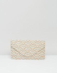 Клатч с золотистой отделкой и бисером Clutch Me By Q - Розовый
