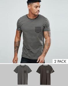 2 футболки (однотонная, в полоску) Brave Soul - Зеленый