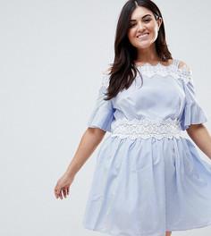 Короткое приталенное платье в полоску с открытыми плечами и кружевной отделкой Koko - Синий