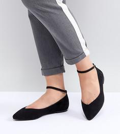 Туфли на плоской подошве с острым носом Faith Wide Fit - Черный