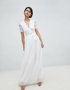 Ажурное платье макси с короткими рукавами Club L - Белый
