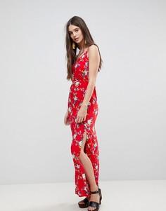 Платье с цветочным принтом и разрезом Ax Paris - Красный