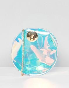 Круглая сумка через плечо с переливающимся эффектом Yoki Fashion - Серебряный