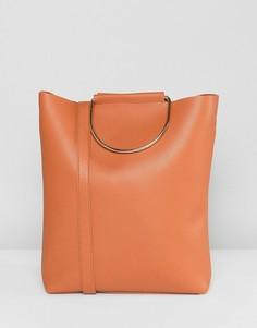 Светло-коричневая сумка-тоут с наплечным ремешком и D-образными кольцами Yoki Fashion - Рыжий