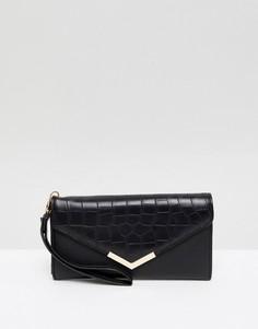 Сумка-конверт из искусственной крокодиловой кожи Yoki Fashion - Черный