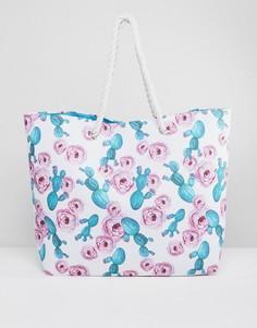 Пляжная сумка с веревочными ручками и принтом South Beach - Мульти