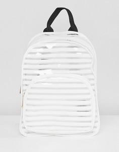 Пластиковый рюкзак в белую полоску Yoki Fashion - Белый