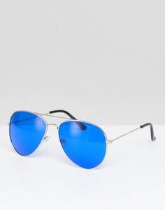 Солнцезащитные очки-авиаторы с цветными стеклами 7X - Синий
