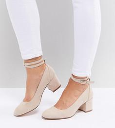 Туфли на блочном каблуке для широкой стопы London Rebel - Бежевый