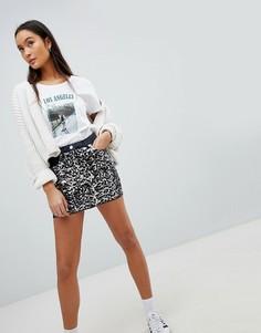 Джинсовая мини-юбка с пайетками Parisian - Серый