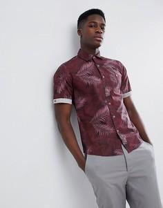 Рубашка с короткими рукавами и пальмовым принтом Gandys Burgundy - Красный Gandys