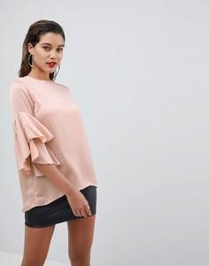Топ с оборками на рукавах AX Paris - Розовый