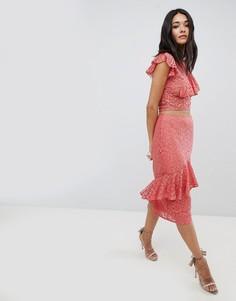 Кружевная юбка с оборкой Hope & Ivy - Розовый