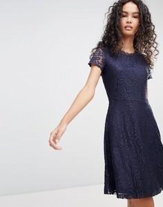 Кружевное короткое приталенное платье Only Mystery - Темно-синий