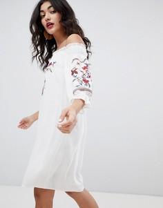 Платье-бандо с длинными рукавами и вышивкой Rd & Koko - Белый