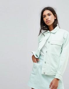 Джинсовая оверсайз-куртка бледно-мятного цвета Waven Karin - Зеленый