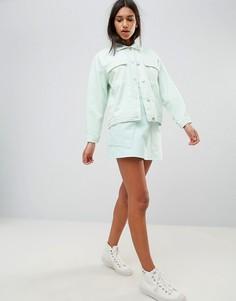 Джинсовая юбка-трапеция с карманами Waven Ina - Зеленый