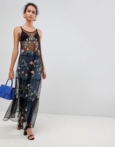 Сетчатое платье макси с вышивкой Glamorous - Черный