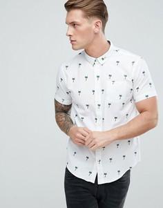 Рубашка с короткими рукавами и принтом пальм Brave Soul - Белый