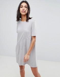 Асимметричное трикотажное платье Noisy May - Серый