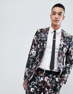 Пиджак суперузкого кроя с цветочным принтом Devils Advocate - Черный