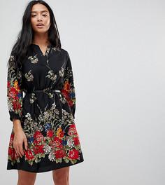 Платье с цветочным принтом и рукавами 3/4 Yumi Petite - Черный
