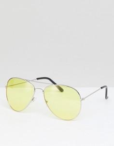 Солнцезащитные очки-авиаторы с цветными стеклами 7X - Желтый
