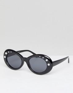 Овальные солнцезащитные очки с жемчужной отделкой 7X - Черный