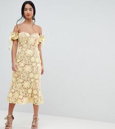 Кружевное платье миди с завязками на рукавах Jarlo Petite - Желтый