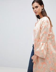 Жаккардовое пальто Helene Berman - Оранжевый
