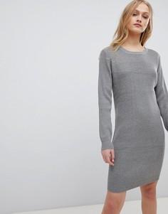 Трикотажное платье в рубчик Blend She Mila - Серый