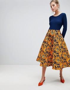 Платье миди с принтом на юбке Traffic People - Мульти