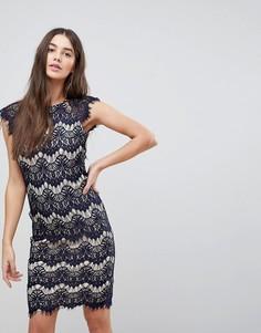 Платье миди с контрастным кружевом Ax Paris - Темно-синий