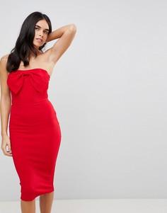 Облегающее платье миди с бантом спереди Ax Paris - Красный