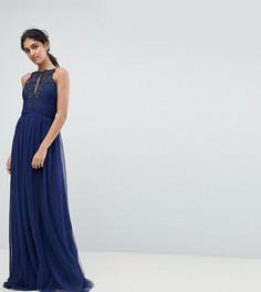 Платье макси с высоким воротом и аппликацией Little Mistress Tall - Темно-синий