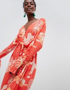 Платье миди с перекрутом и эклектичным принтом Free People - Красный