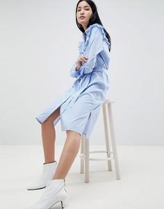 Платье-рубашка в полоску с оборками Gestuz - Синий
