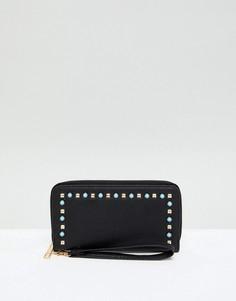 Черный кошелек с отделкой искусственным жемчугом Yoki Fashion - Черный