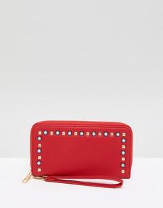 Красный кошелек с отделкой искусственным жемчугом Yoki Fashion - Красный
