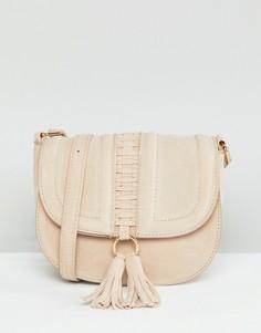 Небольшая сумка-седло с кисточкой Yoki Fashion - Кремовый