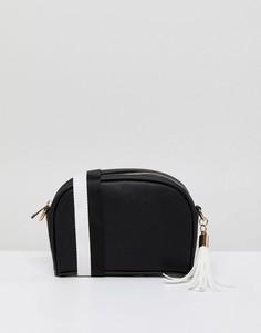 Стеганая черно-белая сумка через плечо с кисточкой London Rebel - Белый