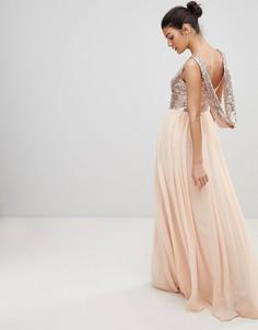 Шифоновое платье макси с пайетками и вырезом хомут City Goddess - Розовый