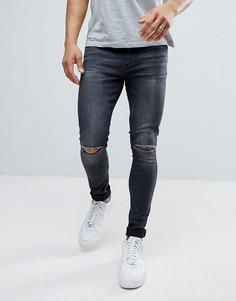 Рваные супероблегающие джинсы Ringspun - Серый